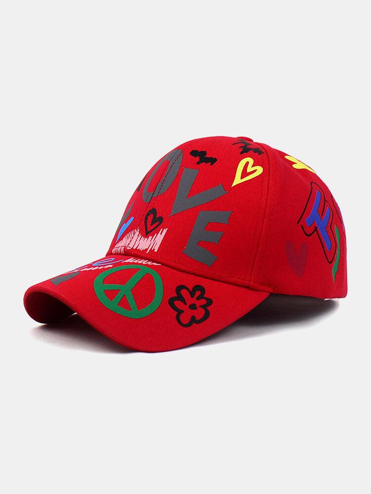 Unisex Cotton Letters Floral Heart Graffiti Pattern Printing Fashion Sunscreen Baseball Caps