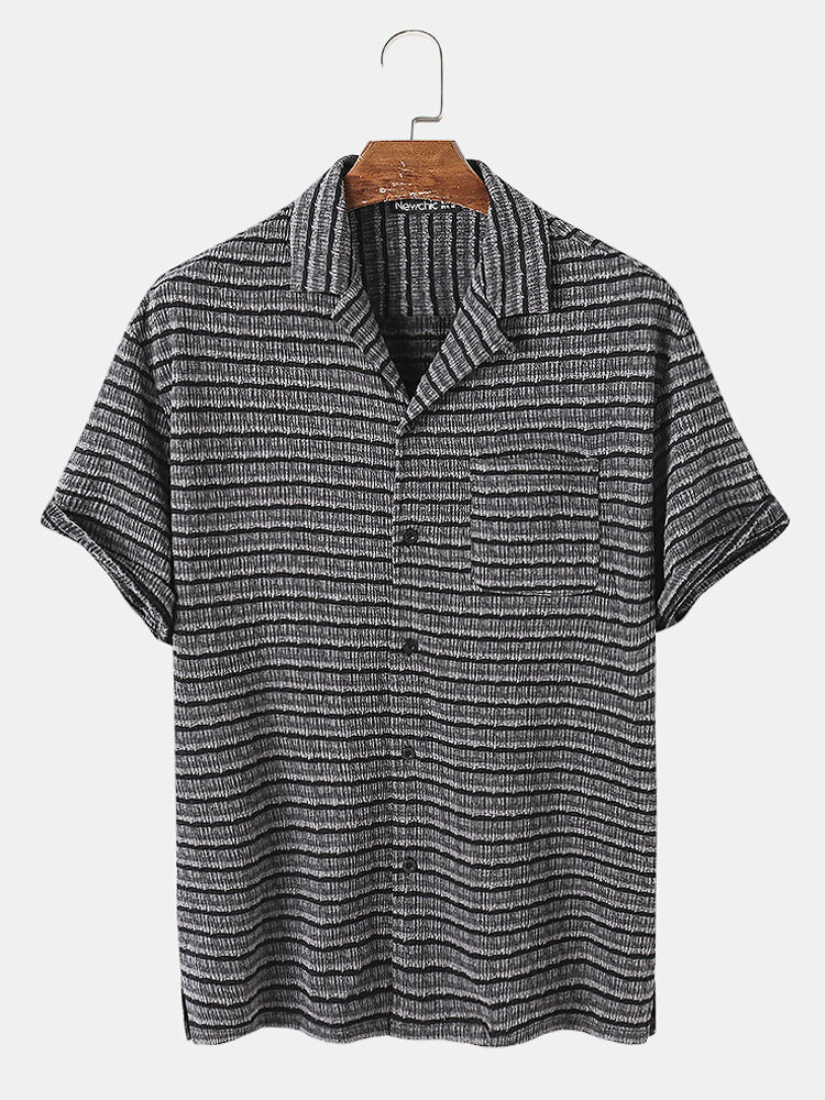 Mens Striped Texture Button Up Casual Short Sleeve Shirts With Pocket