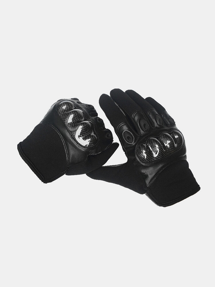 Men Leather Wear-resistant Non-slip Tactical Military Training Anti-cut Full Finger Gloves