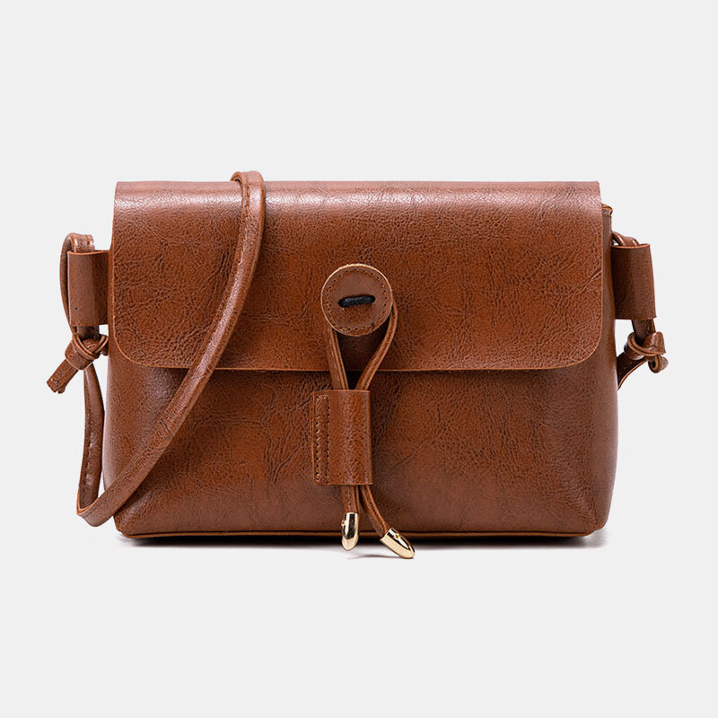 Women Solid Vintage Crossbody Bag PU Leather Shoulder Bag, newchic  - buy with discount