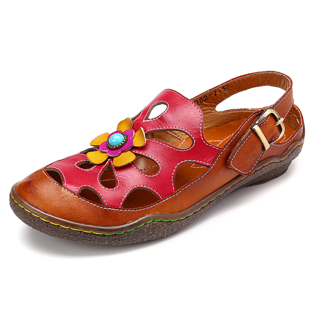 SOCOFY Soft Genuine Leather Splicing Hollow Floral Stitching Buckle Adjustable Hook Loop Sandals