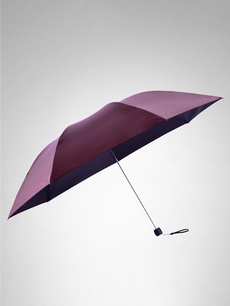 LYZA Portable 3 Folds Sunscreen Pencil Umbrella Rain Umbrella Foldable Sun Umbrella