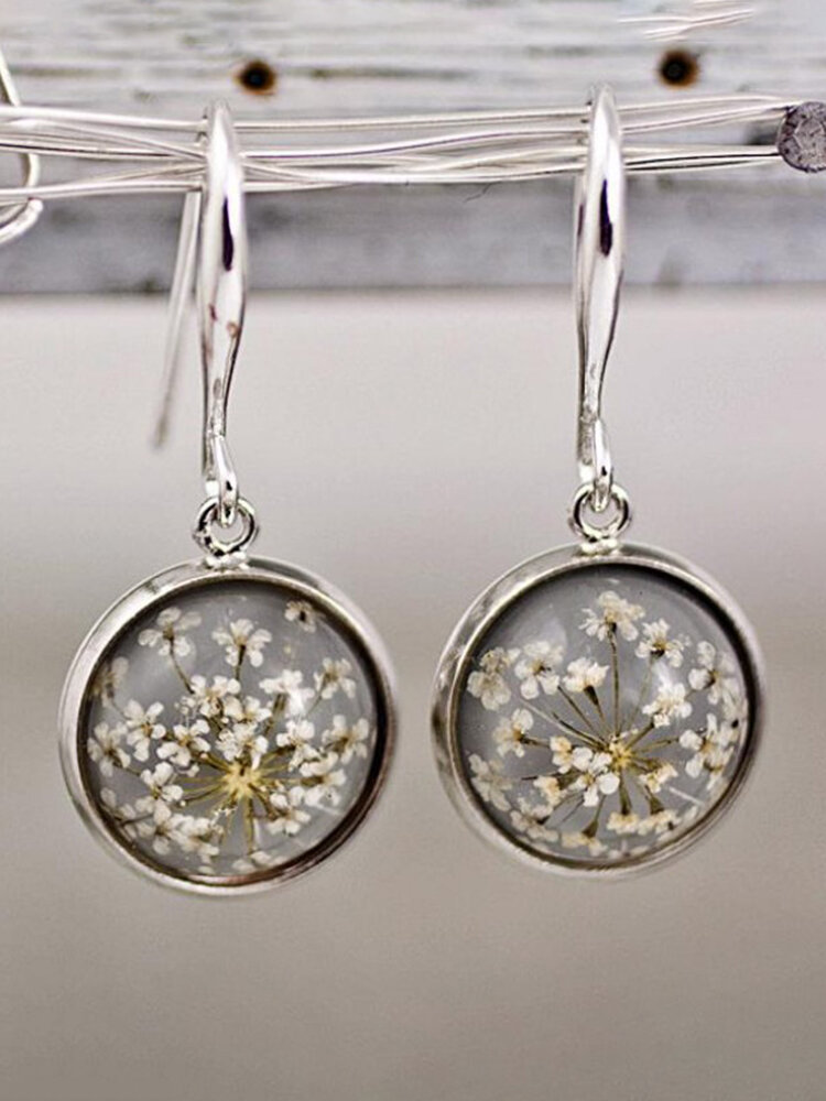 Alloy Glass Vintage Dried Flower Crystal Ball Earrings