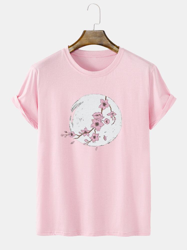 Mens Cherry Blossoms Floral Pattern Crew Neck Short Sleeve Street T-Shirt