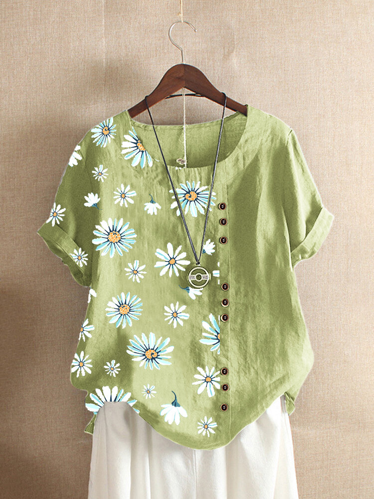 Vintage Daisy Flower Printed Patchwork Short Sleeve T-shirt