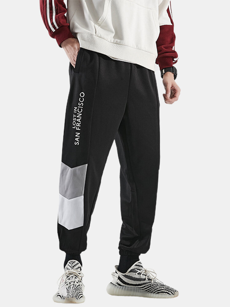 Mens Letter Print Stitching Cotton Drawstring Cuffed Jogger Pants With Pocket