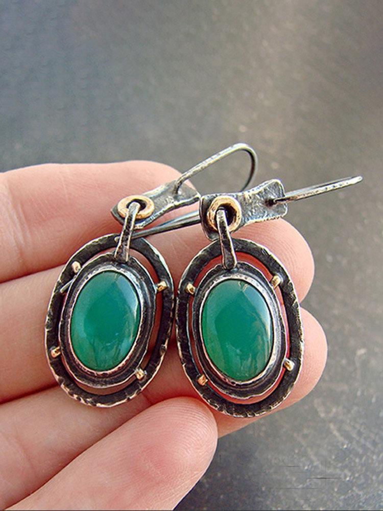 Vintage Geometric Women Earrings Synthesis Chalcedony Pendant Earrings Jewelry Gift