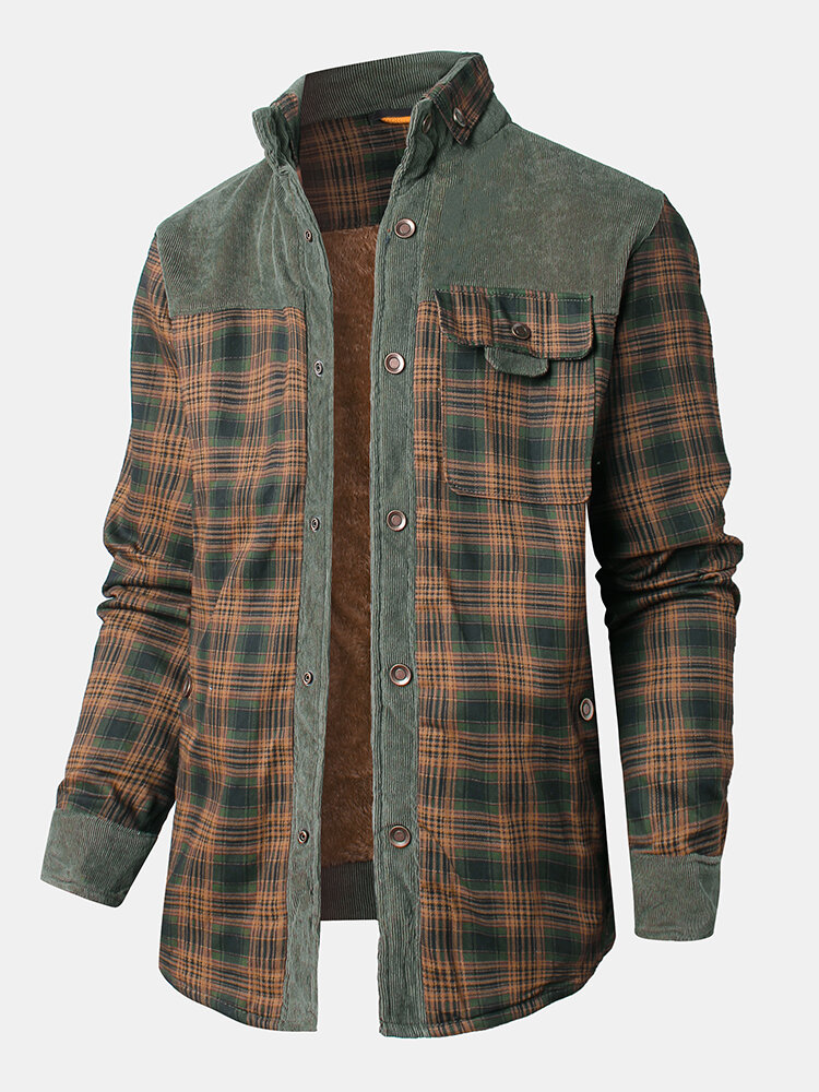 Mens Plaid Patchwork 100 % Cotton Fleece Lined Thick Lapel Reversible Jackets