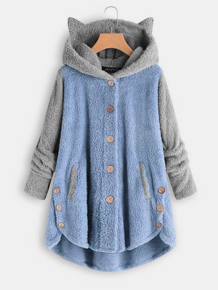 Abrigo casual de manga larga con capucha y orejas de color en contraste para Mujer