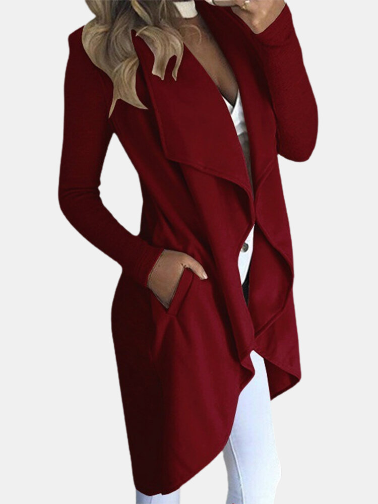Solid Color Pocket Ruffle Long Sleeve Casual Coat for Women