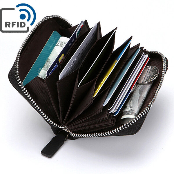 newest collection 4f86e 2ea69 RFID Antimagnetic PU Leather Wallet 10 Card Holders Coin Bag For Men
