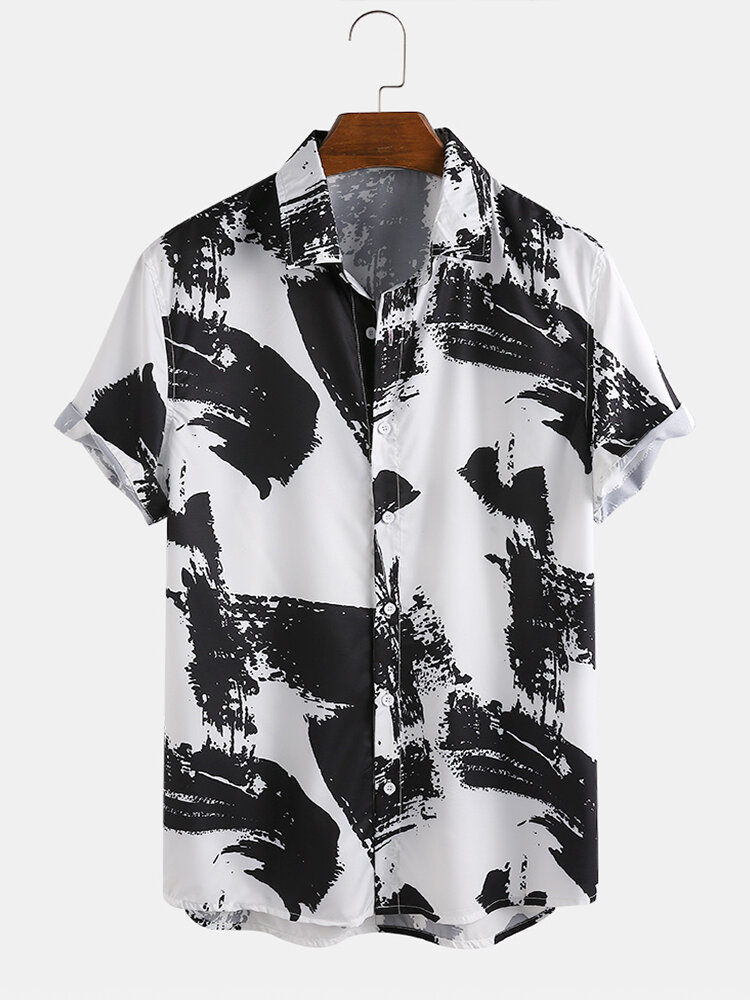 Mens Chinese Style Ink Painting Breathable Short Sleeve Shirts