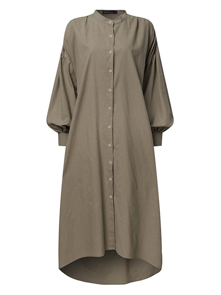Solid Color Button Asymmetrical Long Sleecve Casual Dress for Women