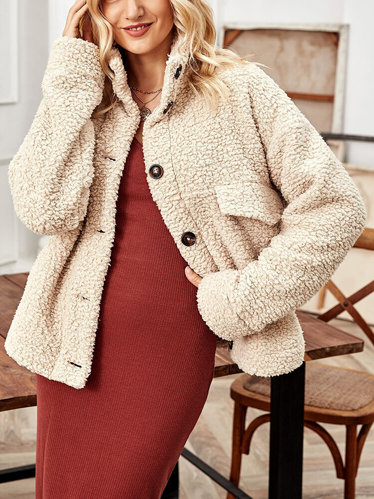 Solid Color Button Pocket Long Sleeve Casual Coat for Women