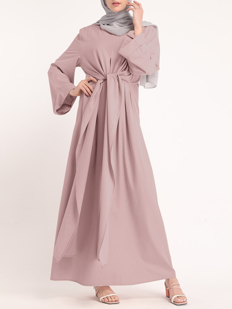 Solid Color Knotted Long Sleeve Maxi Muslim Dress