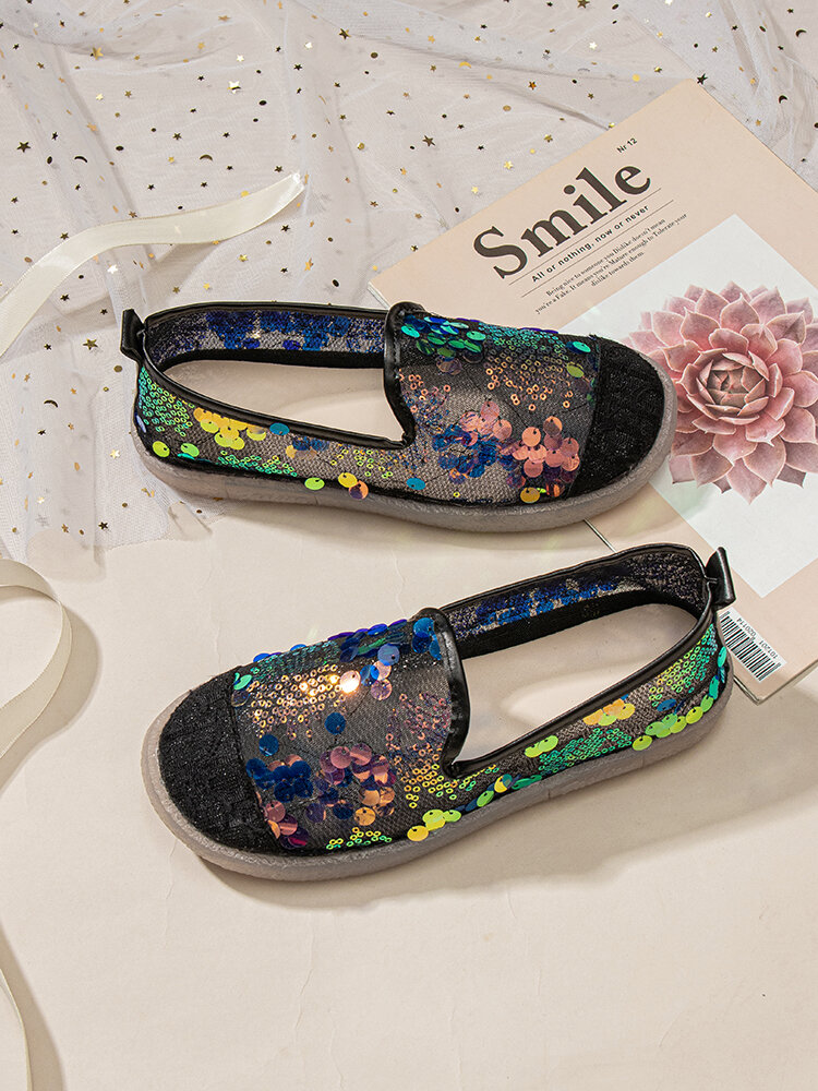 Women Sequined Decor Lace Breathable Comfy Flat Shoes
