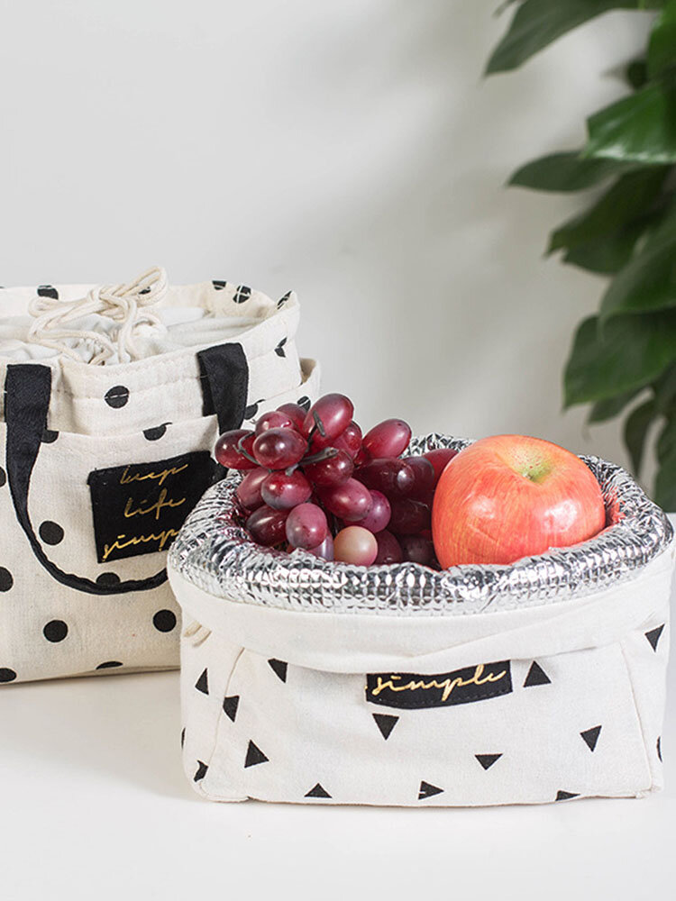 Cotton And Linen Drawstring Insulation Lunch Bag Barrel Cosmetic Storage Bag Travel Outdoor Picnic
