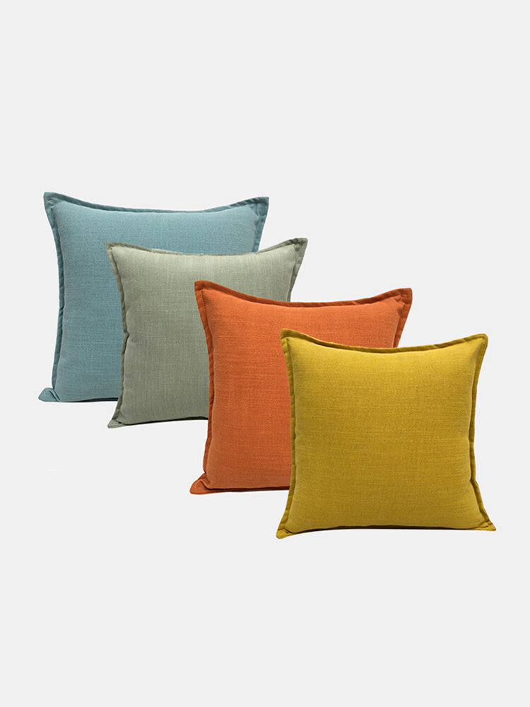 Solid Color Sofa Pillowcase Polyester Linen Creative Car Cushion Room Living Room Pillow
