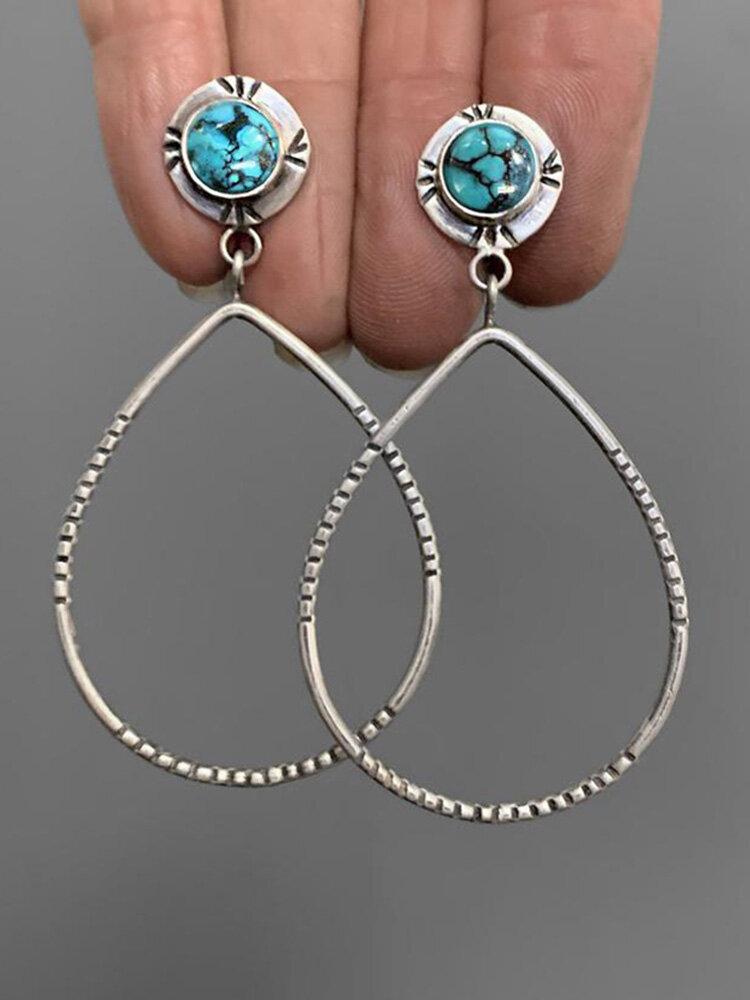 Vintage Big Water Drop Silver Plated Earrings Turquoise Pendant Earrings