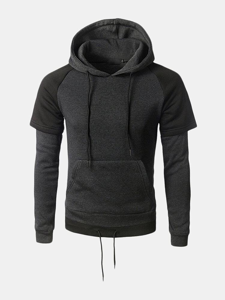 Mens Casual Pullover Drawstring Stitching Color Hooded Cotton Hoodies Sweatshirts