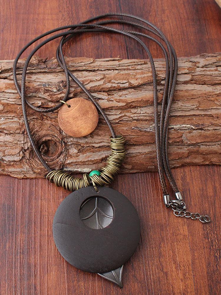 Vintage Double Layer Wood Pendant Necklace Handmade Round Plate Leaf Pendant Women Long Necklaces