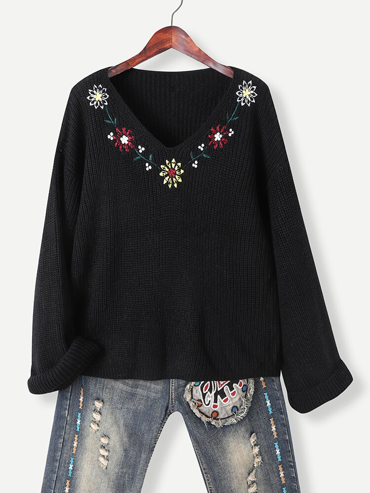 Flower Embroidered V-neck Long Sleeve Textured Vintage Sweater for Women