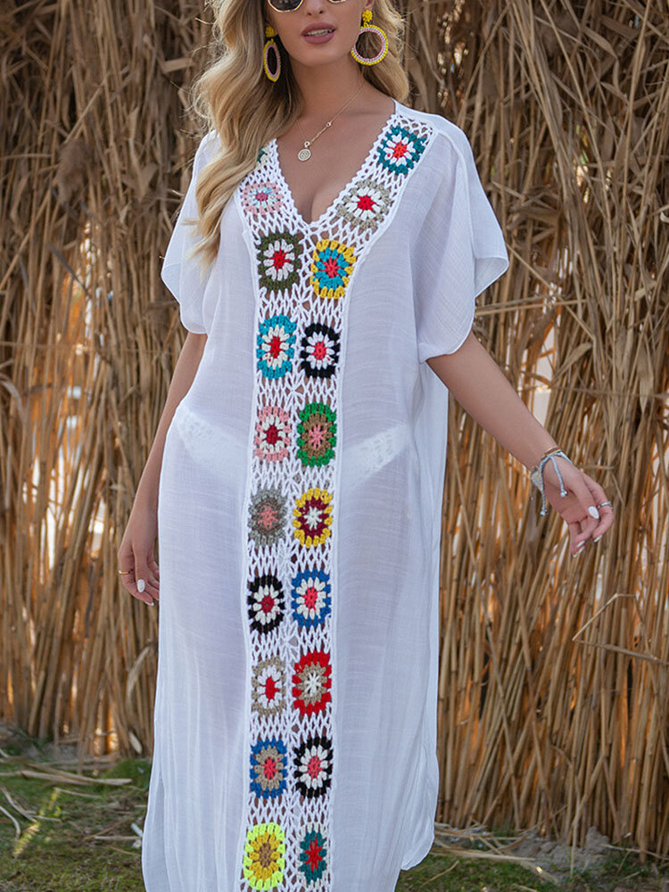 Women Weave Flower V-Neck Thin Sun Protection Cover Up Beach Maxi Dress