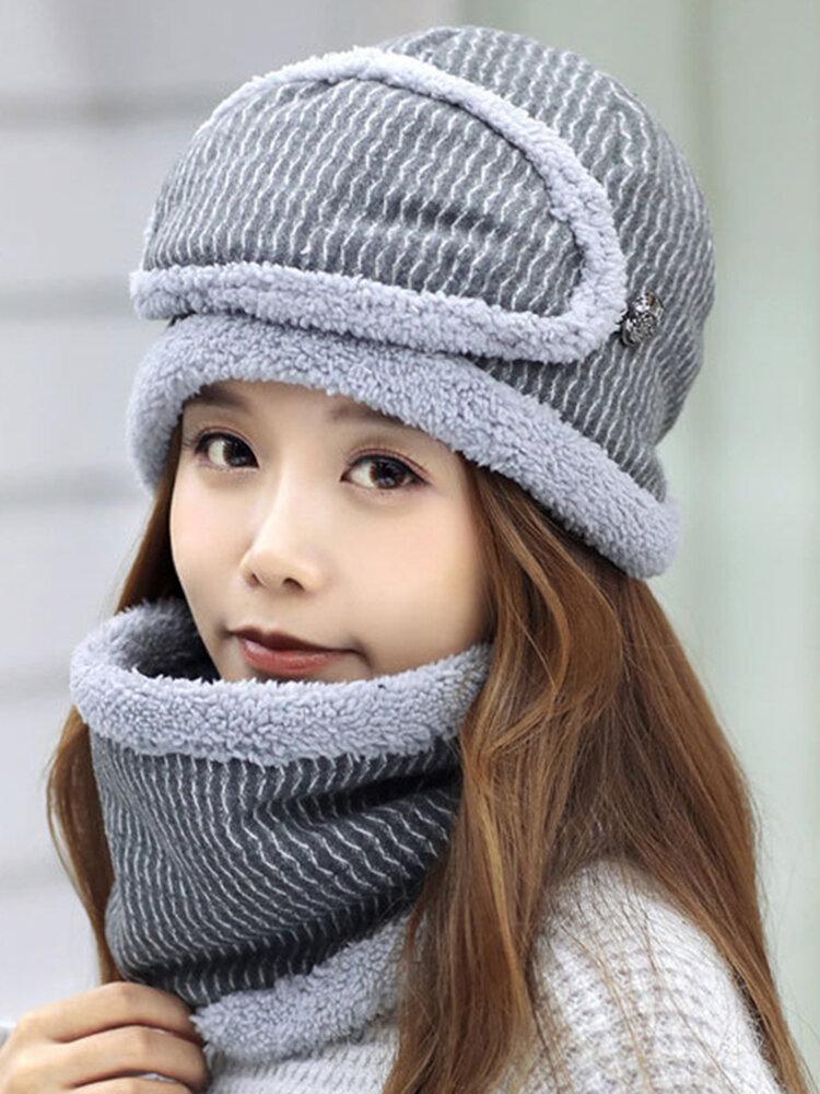 Women Winter Plush Warm Knit Beanie Hat Masks Scarf Set Outdoor Ski Windproof Ear Cover Hat