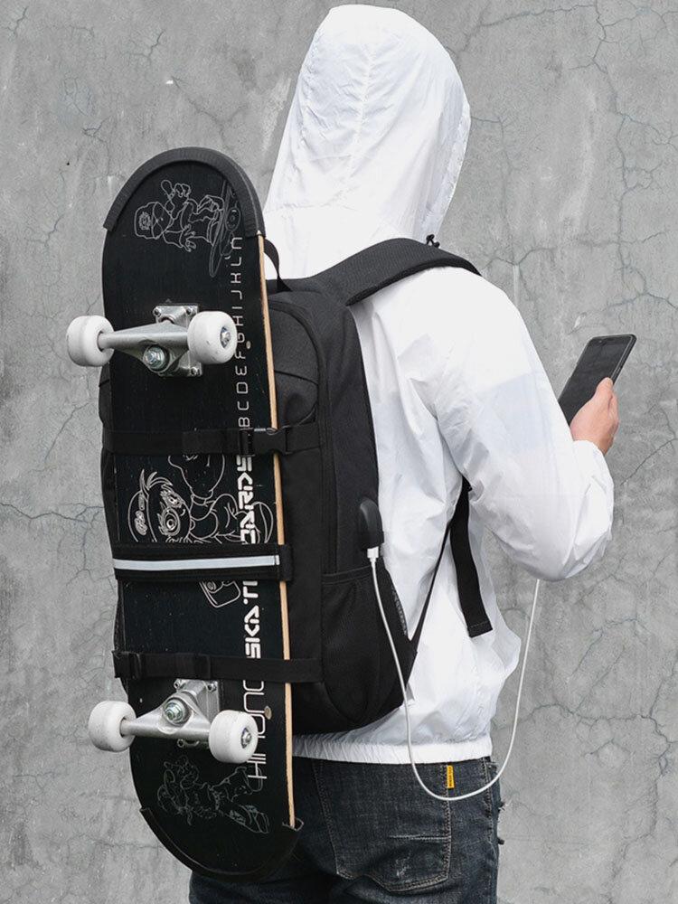 Men USB Charging Camouflage Large Capacity Skateboard Bag Anti-theft Backpack