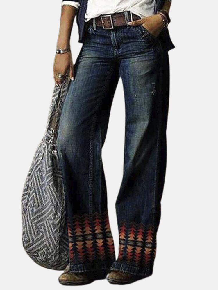 Casual Print Hem Loose Plus Size Wide Leg Demin Pants with Pockets