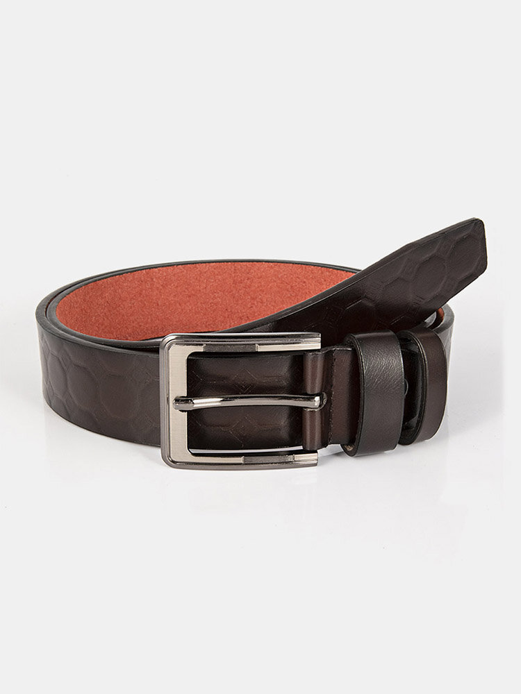 Men Leather Polygonal Dark Pattern Square Pin Buckle Business Casual Belt