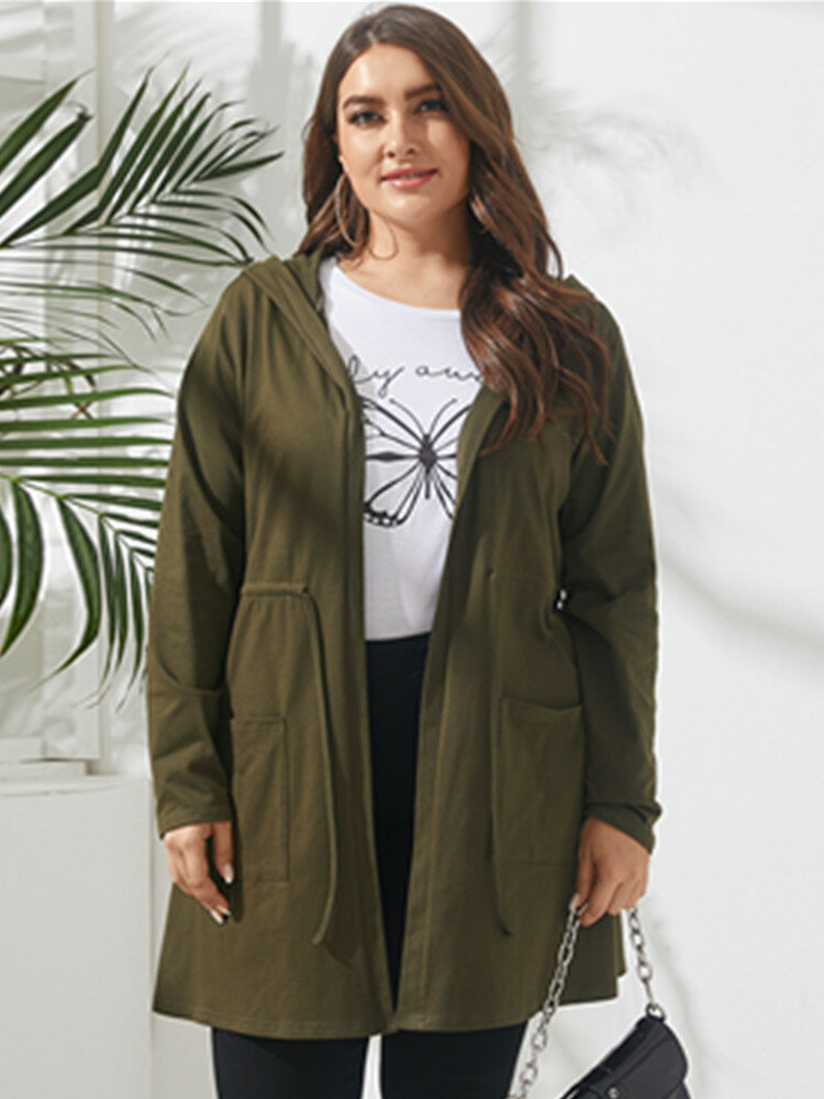 Solid Color Drawstring Long Sleeve Plus Size Hooded Thin Coat with Pocket