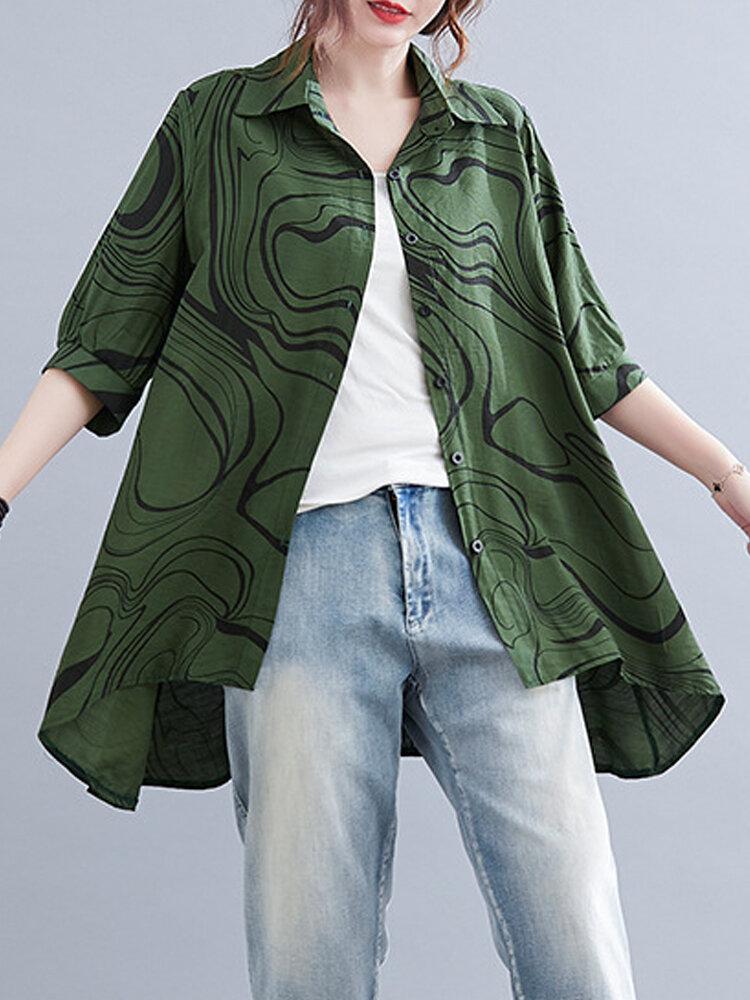 Striped Print Half Sleeve Retro Plus Size Casual Cotton Shirt