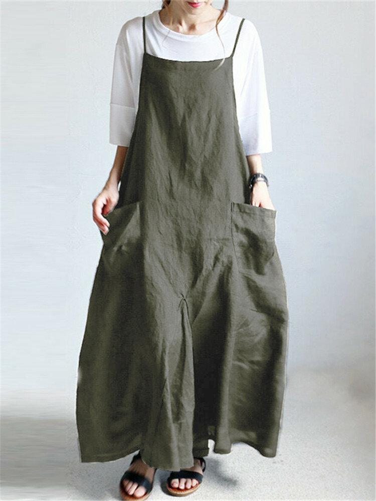 Casual Strappy Bib Cargo Solid Color Dress