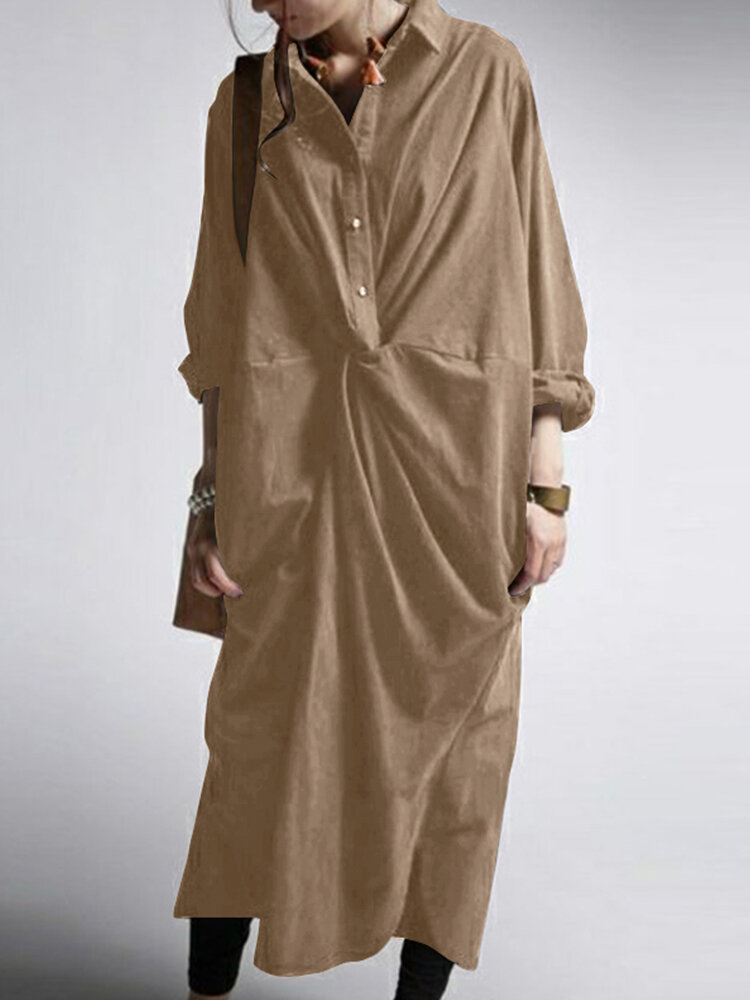 Casual Solid Color Pockets Long Sleeve Pleated Dress