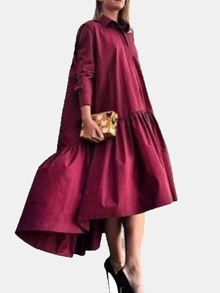 Solid Color Lapel Collar Button Long Sleeve High-low Dress