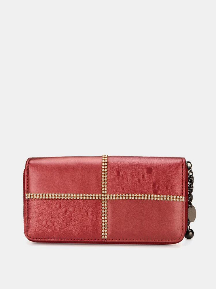 Fashion Women Rhinestones Retro Long Zipper Wallet