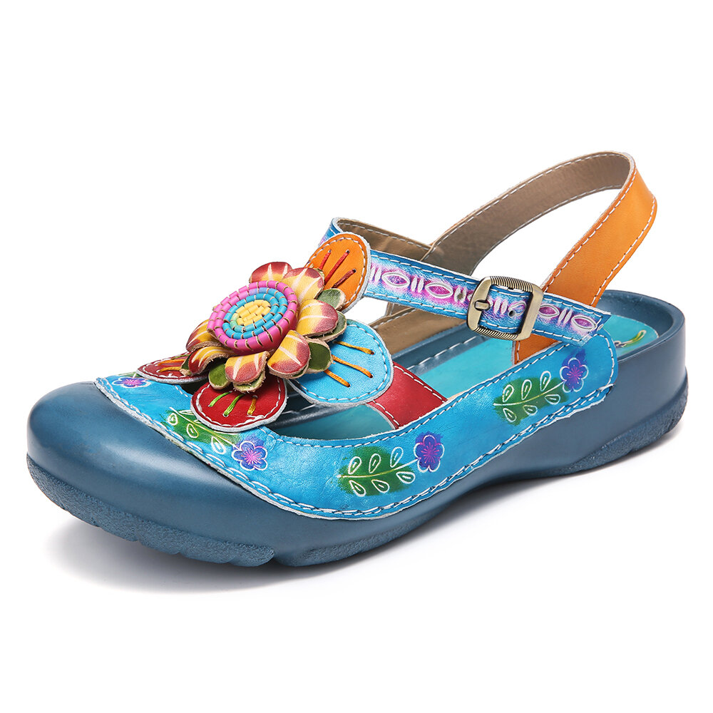 SOCOFY Handmade Leather Floral Buckle Strap Slingback Flat Sandals Mules