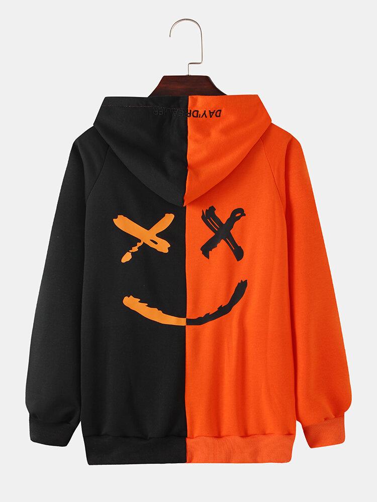 Mens Contrast Color Funny Emojis Back Print Loose Pullover Hoodies