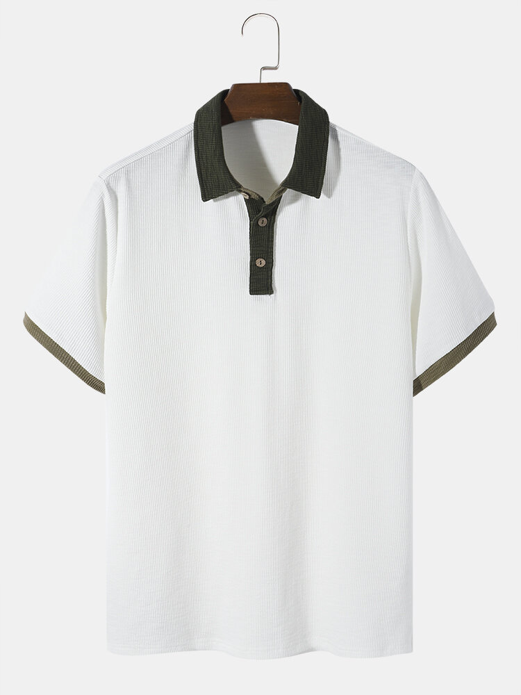 Designer Mens Knitted Ribbed Contrasting Colors Texture Casual Short Sleeve Golf Shirt