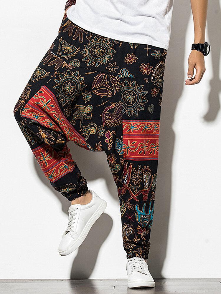 Mens Cotton Ethnic & Tribal Pattern Print Loose Designer Jogger Pants