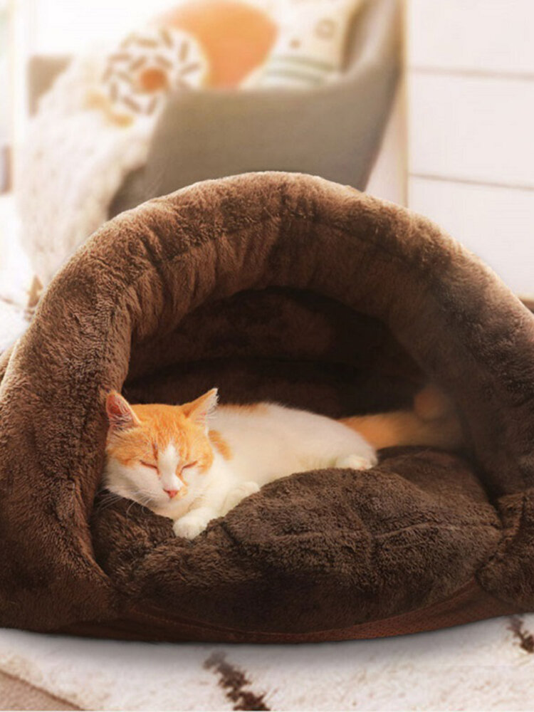 2 Colors Thickened Velvet Pet Sleeping Bag Kennel Puppy Cat Warm Cave Bed
