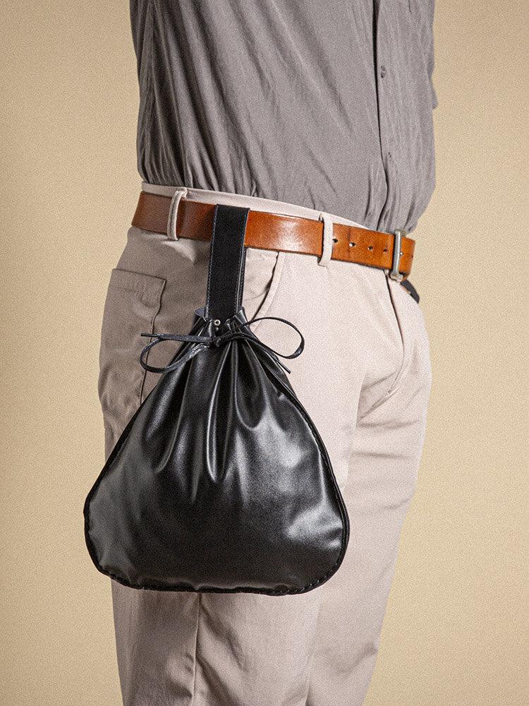 パンク天然ゴム汚れたひもデザイン多機能大容量ワークノートブック電話バッグベルトバッグ