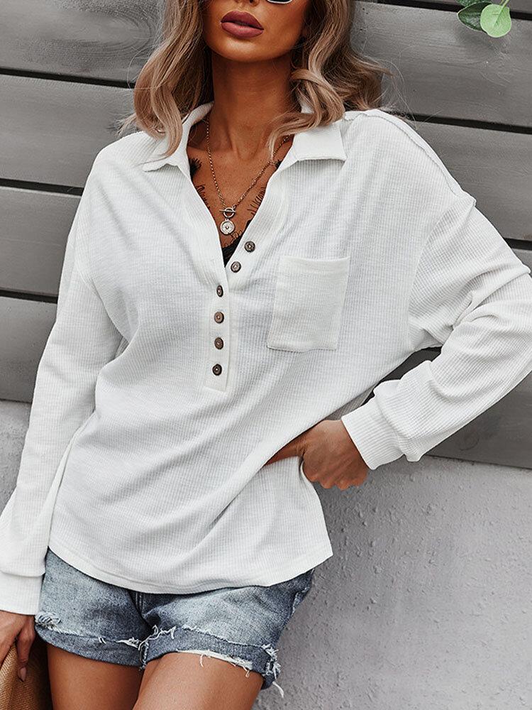 Solid Lapel Long Sleeve Pocket Button Loose Women Blouse