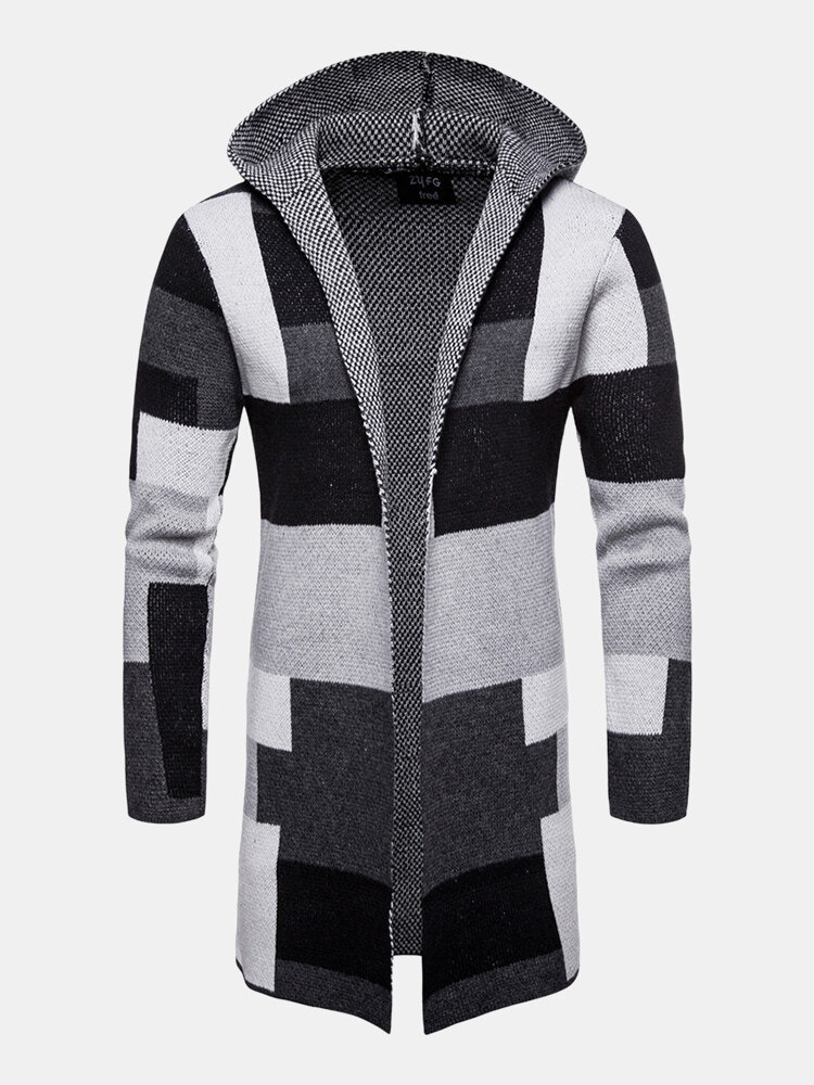 Mens Colorblock Contrast Color Mid-Length Casual Hooded Cardigan Sweater
