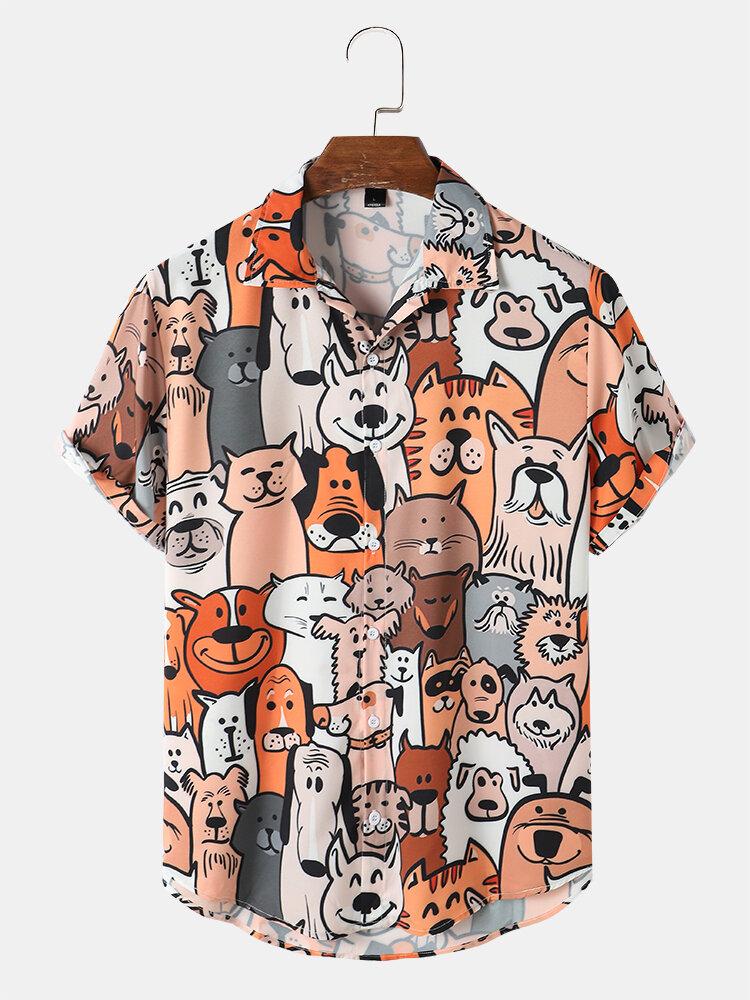 メンズ カートゥーン ペット アニマル プリント かわいい半袖シャツ