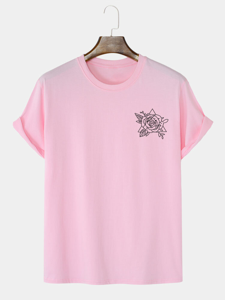 Mens Rose Chest Print Crew Neck 100% Cotton Casual Short Sleeve T-Shirts