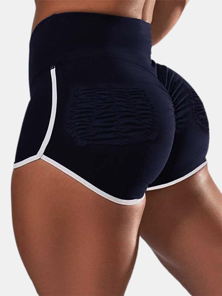 Women Wrinkled Design Breathable Slim Fit Sports Running Shorts
