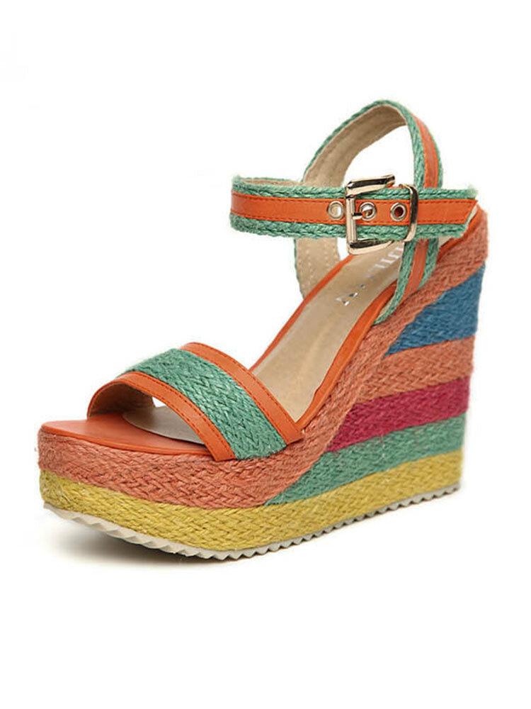 Women Fashion Straw Gorgeous Rainbow Colors Espadrille Platform Wedges Slippers