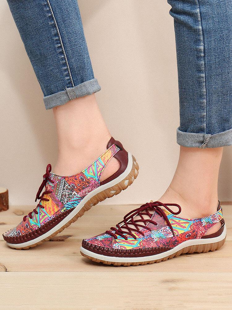 SOCOFY Impression de motifs épissures surpiqûres à lacets Soft Chaussures plates